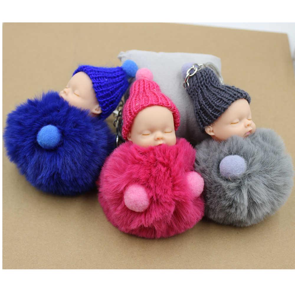 Novo bonito dormir bebê boneca chaveiro pompom chaveiro chaveiro saco charme titular resina chaveiro pingente