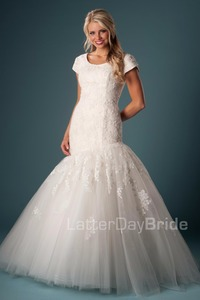 Image 2 - Mermaid Modest Wedding Dresses With Short Sleeves 2019 Lace Tulle Temple Bride Gowns Sleeves Simple Robe De Mariee Couture