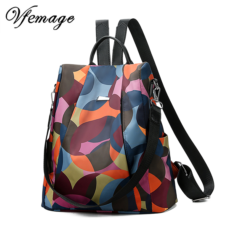 Vfemage Fashion Oxford Backpack Women Anti Theft Backpack Girls Bagpack Schoolbag for Teenagers Casual Daypack Sac