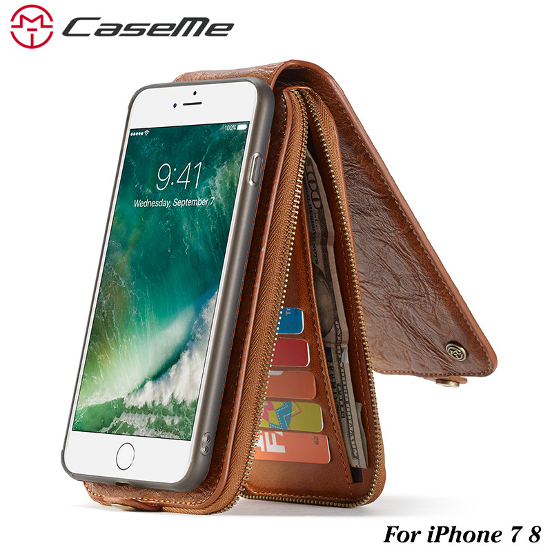 Leather Case for iPhone 7 8 Retro Detachable 2 in 1 Flip Card Cash Slot Zipper Wallet Cover for Apple iPhone 7 Phone Case