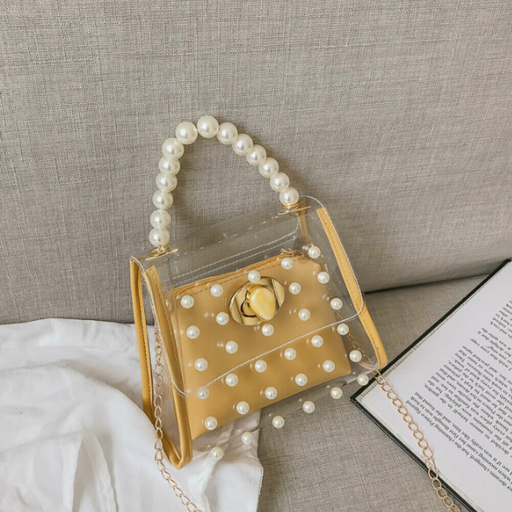 2019 New Pearl Handbag Women's Fashion Shoulder Bag Transparent Beaded Messenger Bag