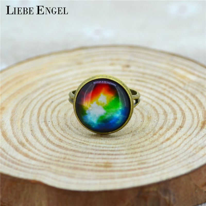 LIEBE ENGEL Vintage Glass Cabochon Galaxy Ring Round Dome Nebula Space Antique Bronze Copper Ring For Women Adjustable