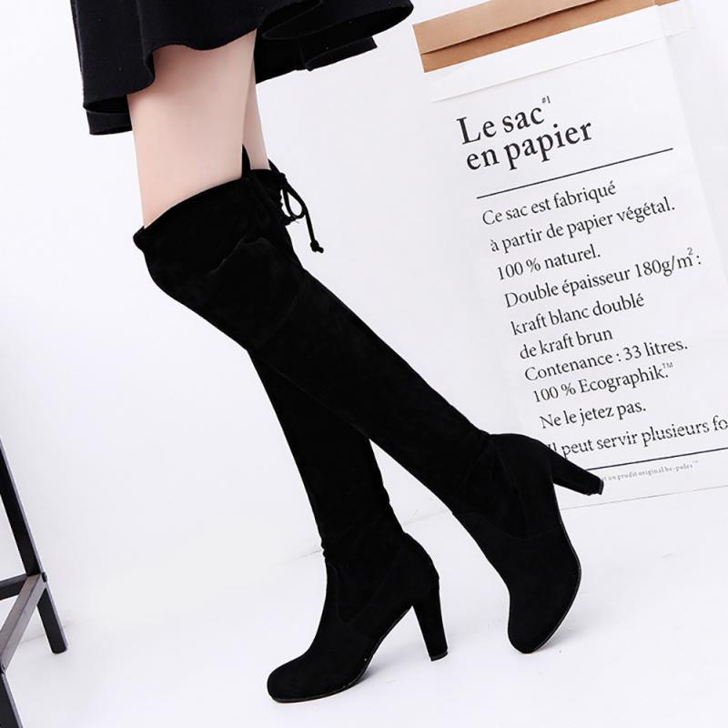 Botas ajustadas de imitación de gamuza Sexy por encima de la rodilla de las mujeres de moda de invierno muslo botas altas zapatos de mujer