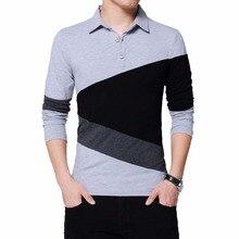 2019 Brand T Shirt Men Long T-shirt Stripe Turn-down Collar Tshirt Slim Fit Loose Casual Cotton Homme Basic Tee hombre