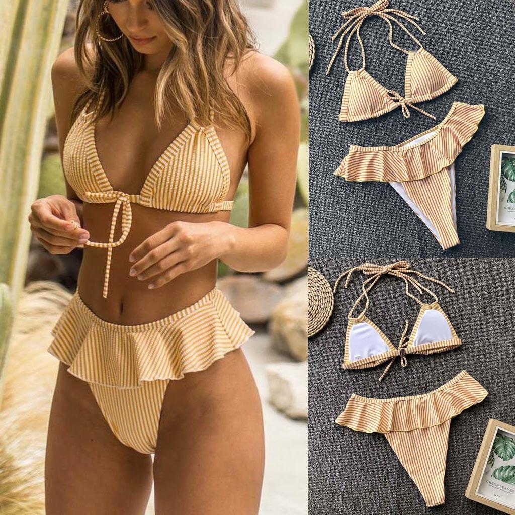 #Z30 Women Sexy Bikini Ruffles Bikini Push Up Pad Swimwear Women Yellow Halter Swimsuit Bathing Suit Women Beachwear Bikini 2020