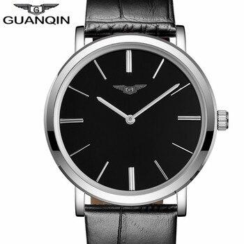 Relogio Masculino Luxury Brand GUANQIN Simple Design Men Ultra Thin Quartz Watch Fashion Casual Leather Strap Male Wristwatch