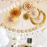 8 шт. складной блеск Бумага вентилятор ткани висит партия поставки Свадебные украшения 2 Цвет Праздничное оформление