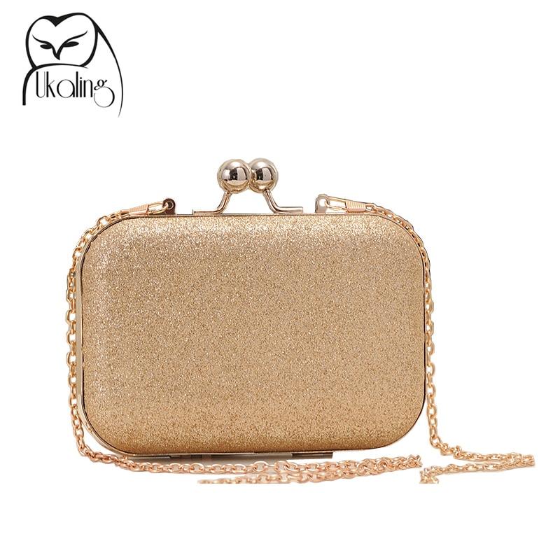 Ukqling caja bolsa mujeres bolsos de tarde del embrague con la cadena de oro de
