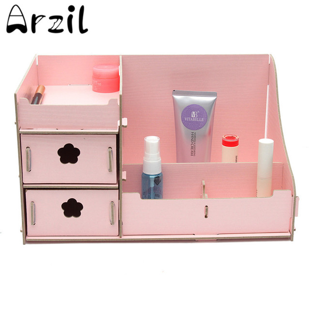 Diy Cosmetic Drawer Organizer Box Makeup Brush Storage Case Wooden Composite Drawers Bathroom Waterproof Tabletop