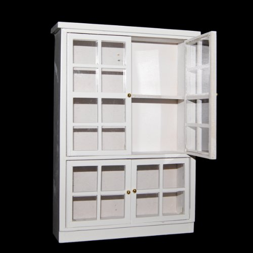 ABWE 1/12 Dollhouse Miniature Furniture Kitchen Dining Cabinet Display Shelf White