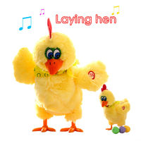 Dancing Singing Musical Funny Chicken Lay Egg Hens Stuffed Plush Animals Toys Doll Interesting Christmas Gift