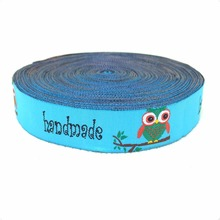 New 2014 lace 5/8' 16mm 10yard/set 100% polyester computer jacquard ribbon Blue selling lace owl
