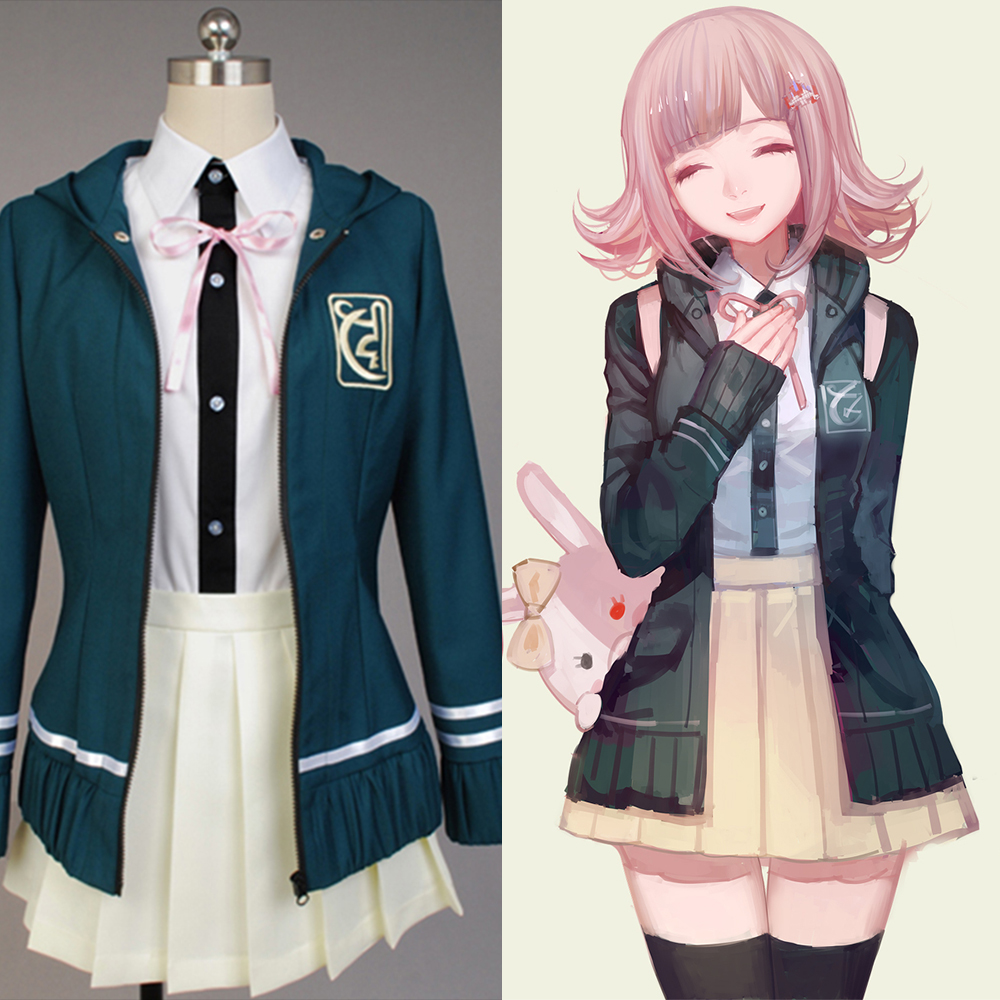 Super DanganRonpa 2 Chiaki Nanami Cosplay Costumes Jacket Shirt Skirt Custom Made For Women