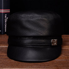 HL105 2018 brand new style winter warm Russian genuine leather caps hats  Men's real cow leather baseball cap men genuine leather cowskin cap 100% leather russian winter warm baseball solid color fashion hats cs113