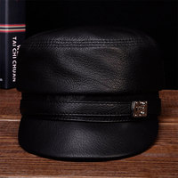 HL105 2018 brand new style winter warm Russian genuine leather caps hats Men's real cow leather baseball cap
