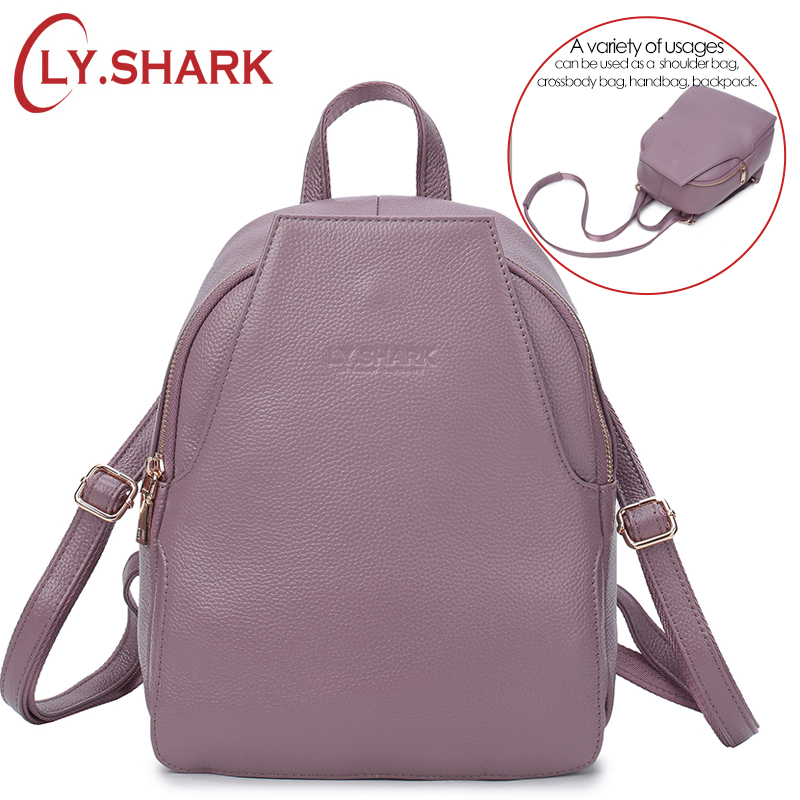 LY.SHARK small anti theft genuine leather 3 way backpack shoulder bag women bagpack female luxury summer back pack ladies black-in Backpacks from Luggage & Bags    1
