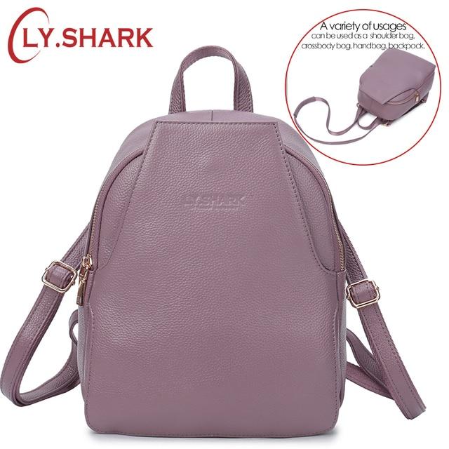 LY.SHARK small anti theft genuine leather 3 way backpack shoulder bag women bagpack female luxury summer back pack ladies black