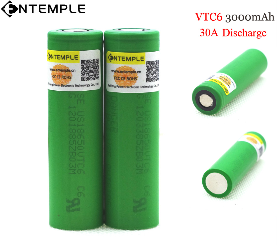 2PCS ENTEMPLE VTC6 3.7V 3000 mAh 18650 Li-ion Battery 30A Discharge for Sony US18650VTC6 Toy Flashlight Tools E-cigarette ues