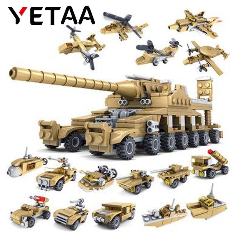 YETAA 544 шт. 16in1 армейский Танк строительные блоки военные морские транспортные средства игрушки Legofigure кирпичи Minecraft блоки игрушки для детей