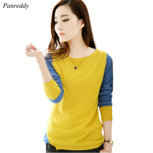 2016 Women's Cashmere Wool Knitted Sweater and Pullovers O Neck Long Sleeve Patch Color Fashion Wear