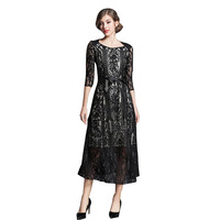 2018 NEW Ladies Slim Thin Lace Dress Women Summer Hollow Long Vacation Dress Black Large Size