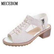 Винтажные элегантные женские сандалии летние Стиль открытый носок с перекрестной шнуровкой сбоку молния Дизайн MID туфли на квадратном каблуке Женская обувь A772W