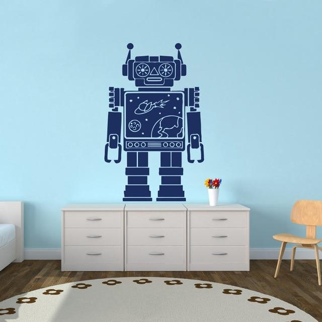 Robot space vinyl sticker decals nursery baby room kids for Robot baby room decor