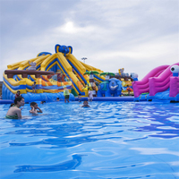 0.55mm PVC Tarpaulin Interesting Huge Inflatable Water Slide Pool toys
