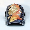 Baseball cap male goldfish tattoo fashion design personality tide cycling cap original illustration fish male models beautifull