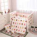 Ice Cream Design 100% Cotton Crib Bed Linen Kit Baby Bedding Set Include Bumper Quilt Pillowcase Bed Sheet Duvet Cover Mattress