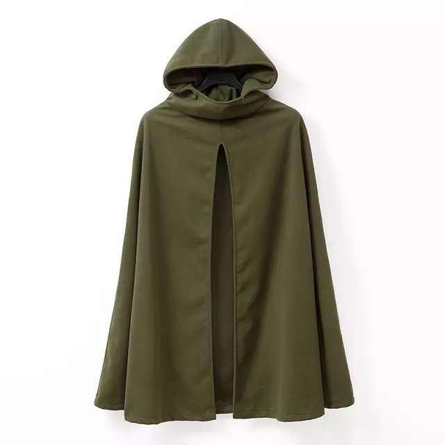 2017 moda z kapturem peleryna Poncho kurtka kobiety jesień płaszcz zimowy luźne Amry zielony kolor Casacos Femininos E0201