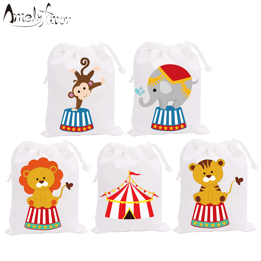 Circus Theme Party Favor Bags Pink Blue Candy Bags Birthday Gift Bags Event Birthday Baby Shower Party Container Supplies 5PCS