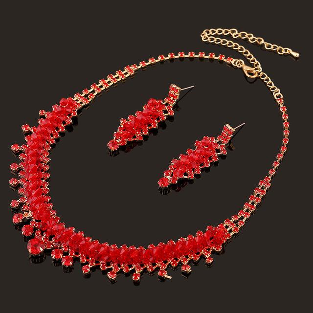 De dos piezas de joyería nupcial aretes collar de novia rojo de la boda al por mayor accesorios de La Joyería de la Boda