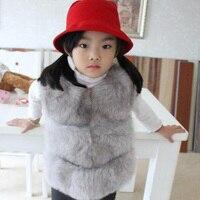 Children's Real Fox Fur Vest Baby Girls Autumn Winter Warm Short Fox Fur Vest Clothing Vest Kids Solid O Neck Thick Vests V#3