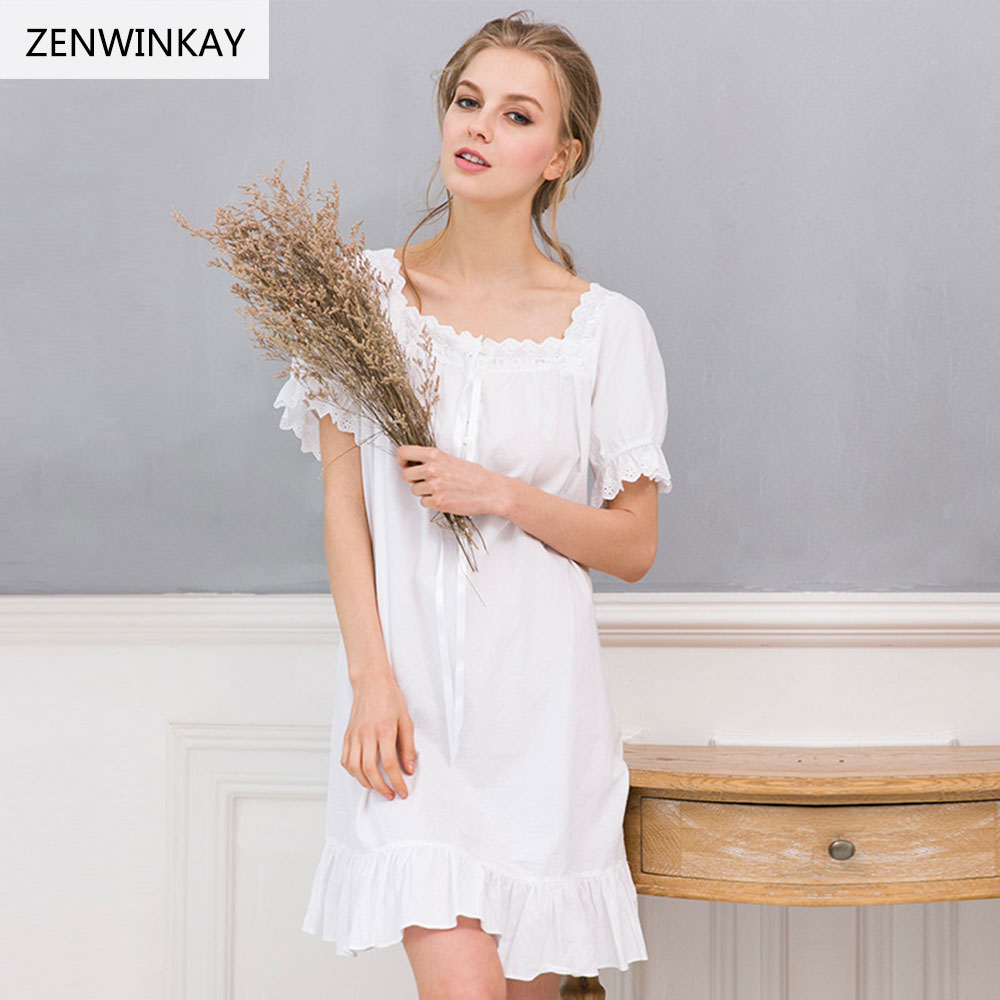 2017 Summer Short Sleeve White Nightgown Cotton Lace Nightgowns Sexy Nightwear Plus Size Nightdress Cotton Sleepwear Loose