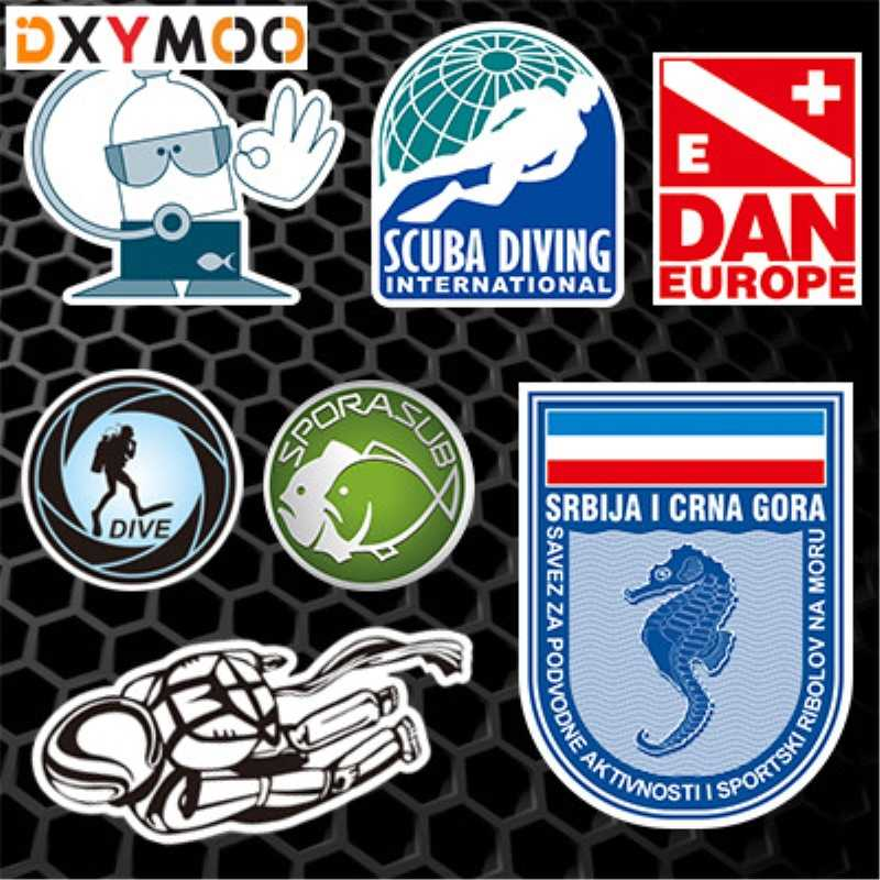 Reflective Scuba Dive Car Stickers DAN EUROPE Diving Decals Fish Tank Car Styling 3M