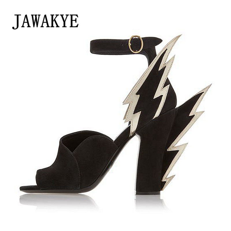 JAWAKYE Stylish Flamed Wing Sandals High Heel Covered Open Toe Sandals Summer Party Shoes Women