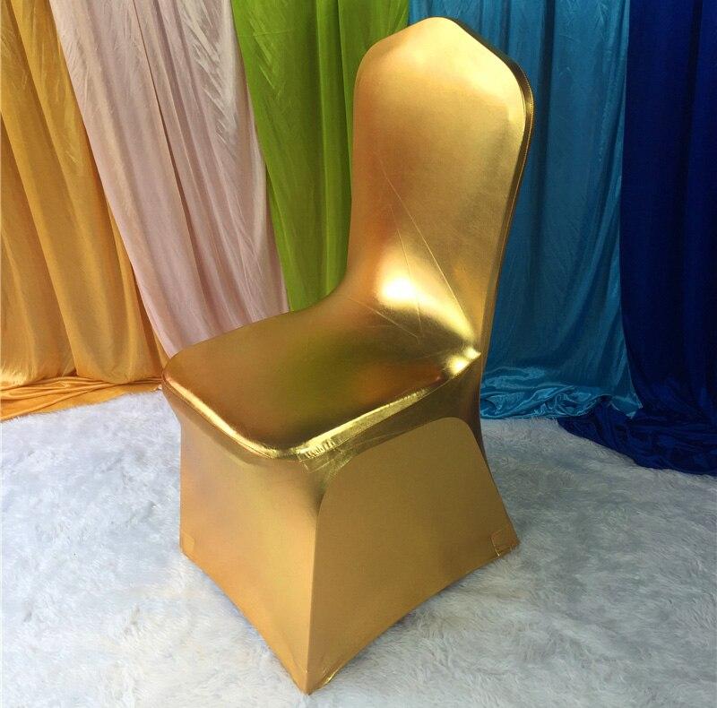 50 шт. блестящий серебристый металлик двусторонней спандекс Чехлы для стульев/лайкра Чехлы для стульев для Свадебные украшения