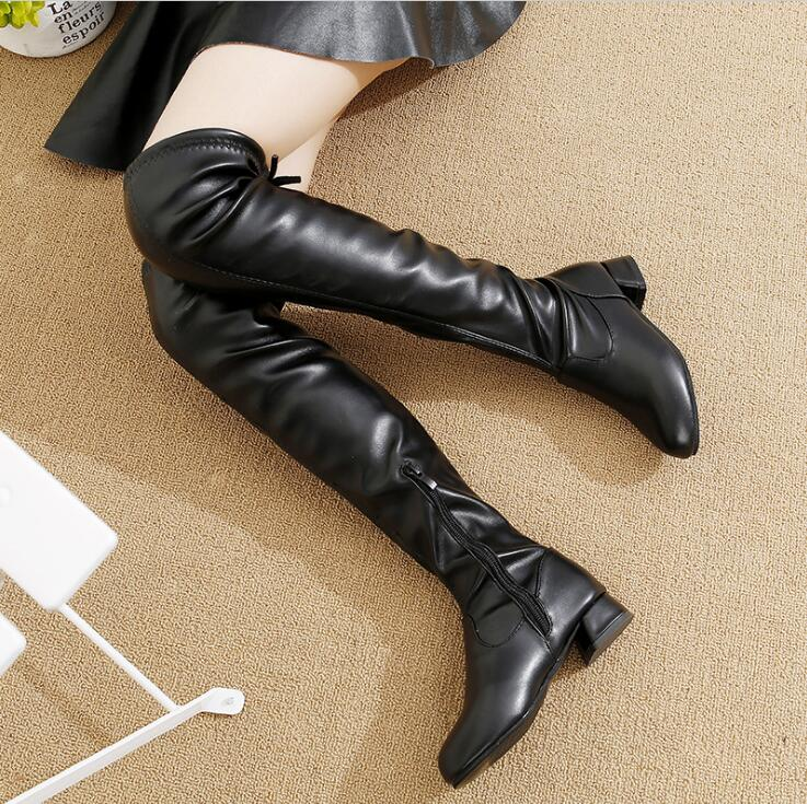 2019 Winter New Girls Over The Knee Boots Students Plus Velvet Princess Boots Big Children Small High-heeled Children Snow Boots
