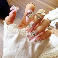 Nuevo 24 piezas Pink Lady Lace Manicura 3D Rhinestone Glitters Decoración Largo falso falso de Acrílico Etiqueta Engomada Del Clavo Tip Con Pegamento [N082]