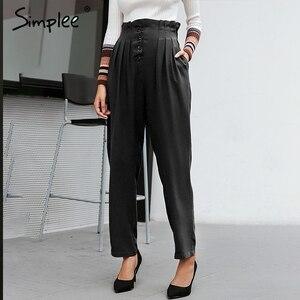 Image 2 - Simplee Verstoorde Elastische Hoge Taille Knop Vrouwen Broek Casual Solid Streetwear Vrouwelijke Broek Office Dames Blazer Botttom Broek