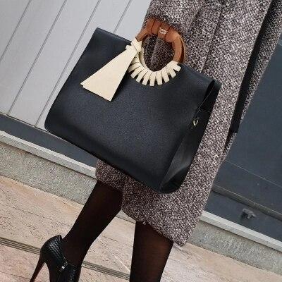 Classic Women Black Handbag Vintage Big large Shoulder Crossbody Bags for Women Fashion Bamboo Ladies shopping