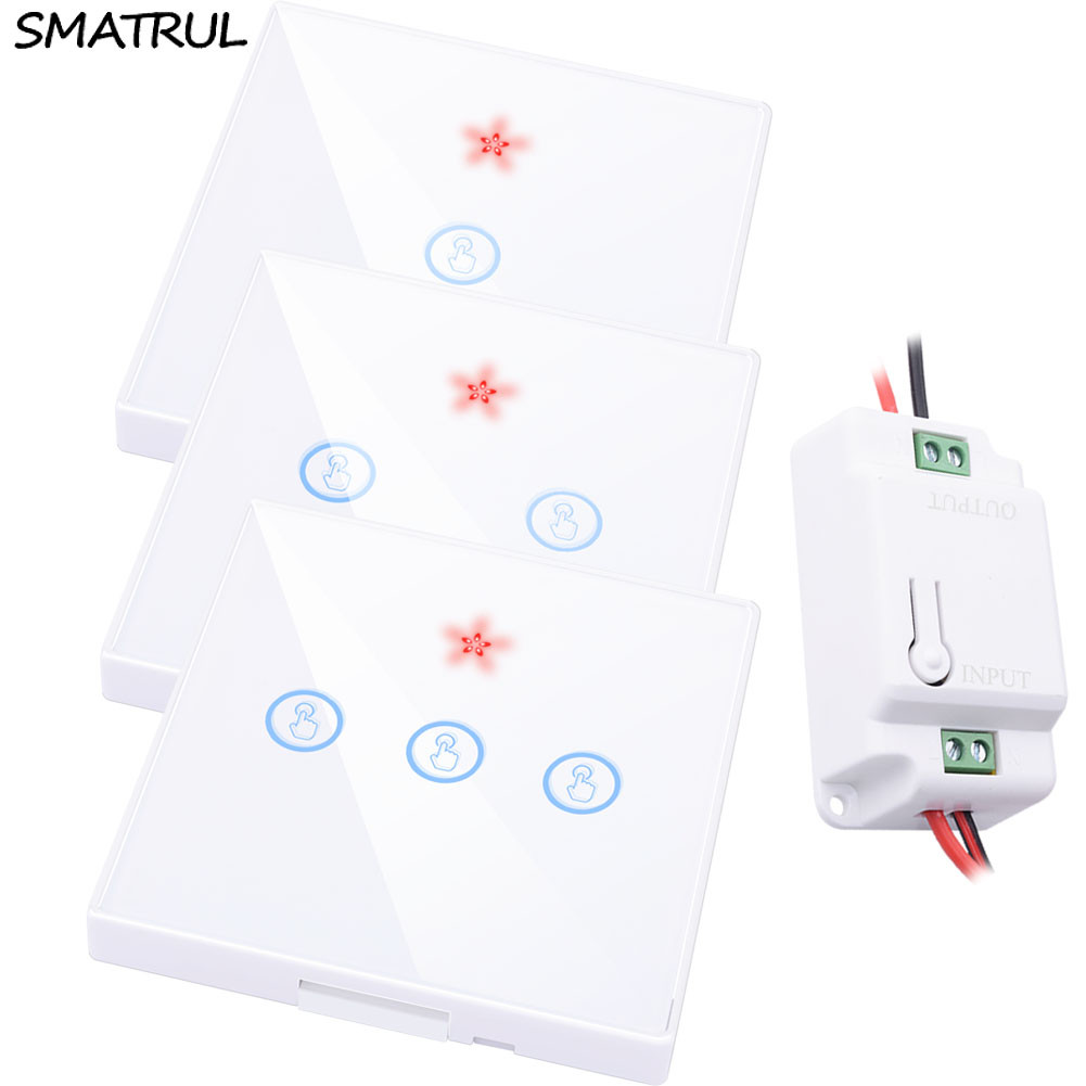 SMATRUL smart Wireless touch Switch Light Glass Screen RF Remote Control 1 2 3 gang 433MHZ Wall Panel button 110V 220V led LampSMATRUL smart Wireless touch Switch Light Glass Screen RF Remote Control 1 2 3 gang 433MHZ Wall Panel button 110V 220V led Lamp