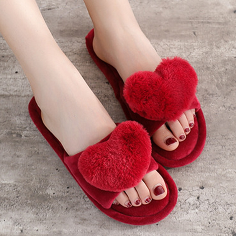 Women Slippers Women Love Heart Cotton Slippers Winter Non-Slip Suede Floor Home Furry Slippers Women Shoes For Bedroom s127