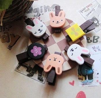 6PCS/PACK Freeshipping New Cute CAT Rabbit Frog Wooden Clip Mini Bag Clip Paper Clip Fashion Special Gift