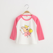 2017 Fall Girls New T shirts Korean Cartoon Pig O neck Pullover Cotton Kids Long Sleeve