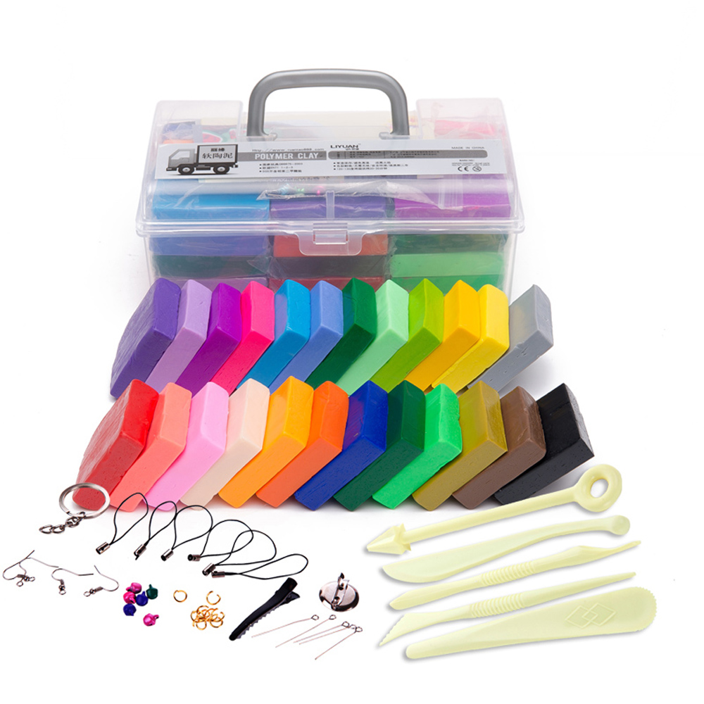 24 cores argila de polímero diy macio modelagem conjunto de argila com 5 pçs ferramentas caixa presente para criança lodo nontoxic brinquedos maleável