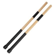 drums percussion 1 Pair 15.7″ 40cm Jazz Drum Brushes Drum Sticks Bamboo Black drum accessories EA14