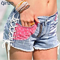 Women's fashion stripe and stars patchwork ripped jeans Female zipper hole denim shorts for summer Free shipping