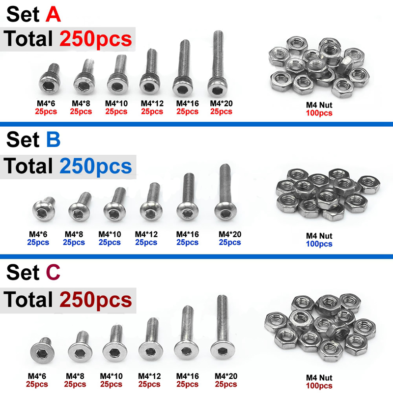 250pc M4 A2 Stainless Steel Hex Bolts Socket Screws Cap/Button/Flat Head Hex Nuts Assortment Sets Hardware Tools m3 m4 m5 steel head screws bolts nuts hex socket head cap and nuts assortment button head allen bolts hexagon socket screws kit